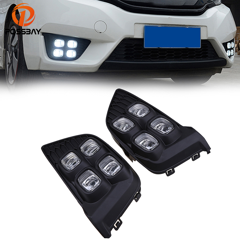 POSSBAY Car Styling For Honda Fit/Jazz MK3 (GK5)2014-2017 Pre-facelift White Foglamp LED Daytime Running Lights Auto Accessories saucony кроссовки saucony jazz lowpro blue white 10