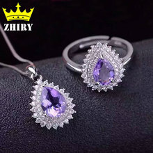 Women natural Amethyst jewelry sets Genuine 925 sterling silver Precious gems stone Ring Pendant Necklaces Set