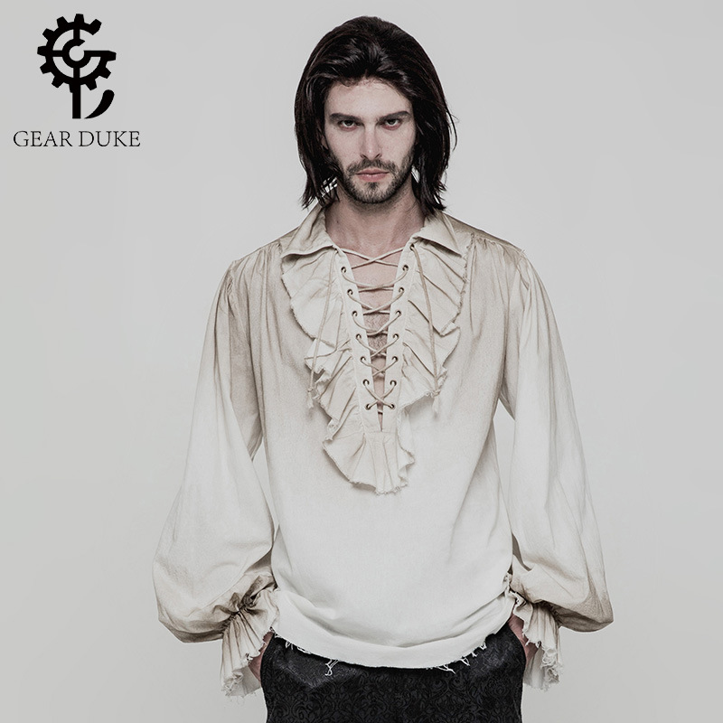 Steampunk Gothic Men Shirt Victorian Gentlemen Party Prom Shirts Spring Autumn White Blouses With