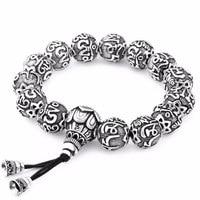 LKO Traditional Tibetan Buddhism Brass Bracelet Men Six Words Mantras OM MANI PADME HUM Antiqued Metal Amulets Beads Bracelet