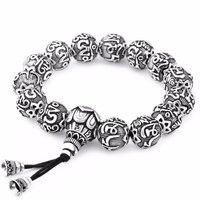 LKO Traditionnel Tibétain Bouddhisme Laiton Bracelet Hommes Six Mots Mantras OM MANI PADME HUM Vieilli Amulettes En Métal Perles Bracelet