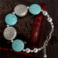 2252 Hot Charm Beads Fashion Jewelry Vintage Hollow Out Handmade Petals Tibetan Silver Turquoise Bracelet Free Shipping