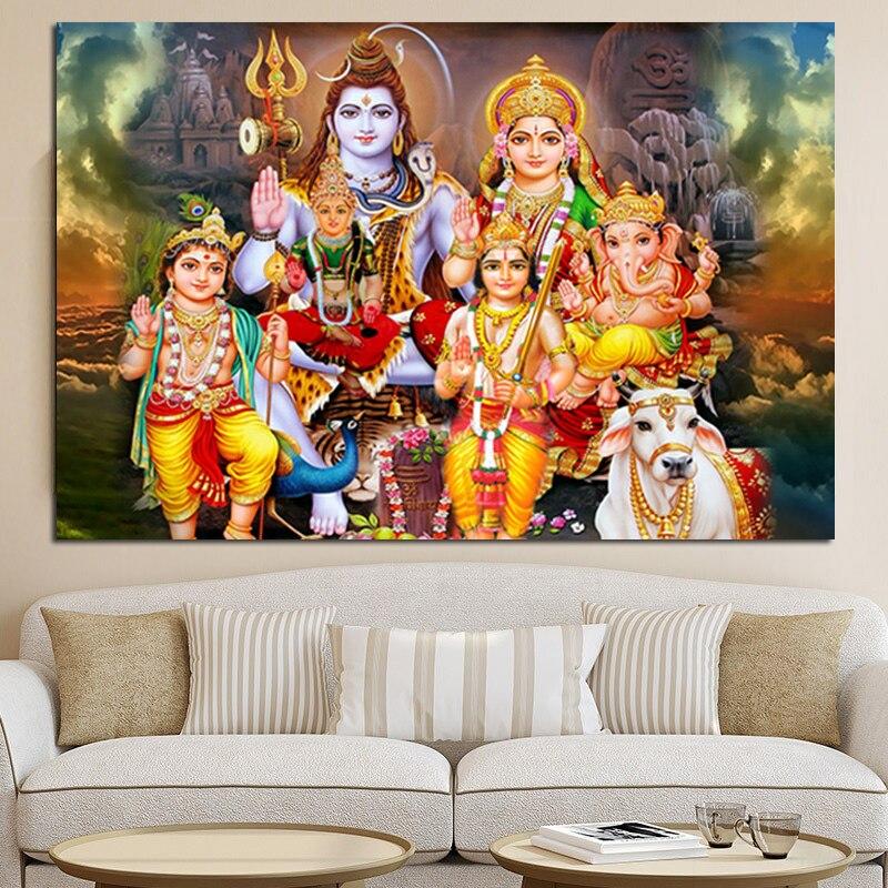 Hindu Poster Art: Shiva Parvati Ganesha Indian Art Hindu God Figure Canvas