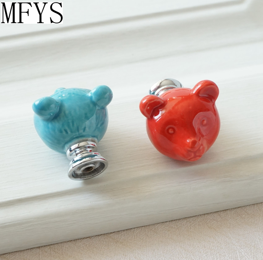 Ceramic Bear Knobs Drawer Knobs Colorful Knobs for Children Dresser Cabinet Knobs Blue Red Pink Kitchen Cupboard Handle Decor in Cabinet Pulls from Home Improvement
