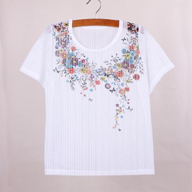 72df36ef354 New arrival Flower Neck print women t shirt 2016 Western fashion summer tees  girls short sleeve
