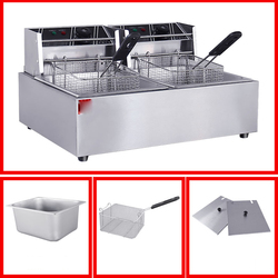 6L*2 Electric Deep Fryer with Basket Strainer 5000W Fryer for Chicken Shrimp French Fries Stainless Steel Frying Machine
