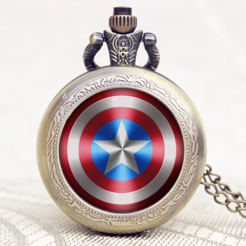2016 Fashion Desgin Captain American Star Shield Pendant Pocket Watch With Necklace Chain Christmas Gift trendy cool style captain america shield case fob quartz pocket watch black dia with steel chain necklace christmas gift