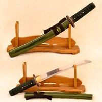 Samurai Japanese Handmade Green Bamboo Tanto Sword 1060 High Carbon Steel Full Tang Blade Very Sharp Real Rayskin Wrapped Handle