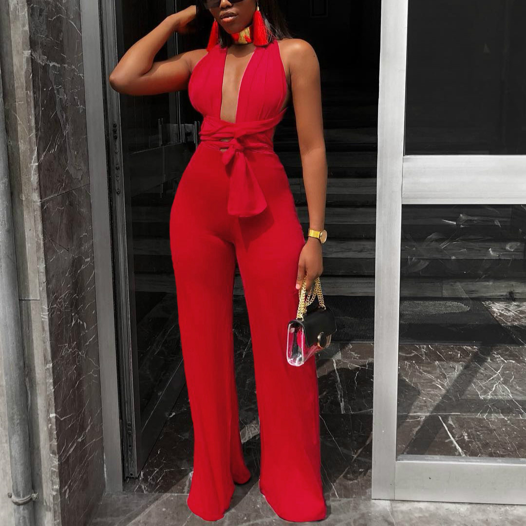 Women Sexy Deep V Neck Jumpsuit Backless Adjustable Strap Summer Fashion New Overalls Holiday Beach Wear Casual Playsuits Female