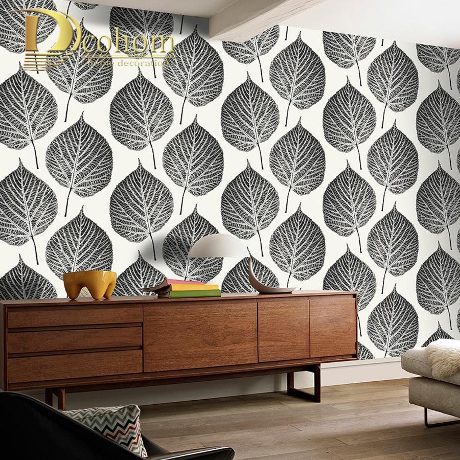 moderno papel tapiz para paredes hojas blancas negras patrn dormitorio sala de estar sof tv decoracin