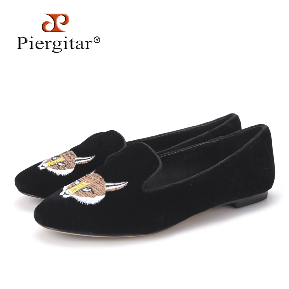 New Fashion Lady Velvet shoes Embroidered with Fox Pattern Women Loafers Women Party and Wedding Flats Size 5-11 Free shipping free shipping chicks and eggs pattern mini diy soap stamp chaprter seal 5 5 2cm
