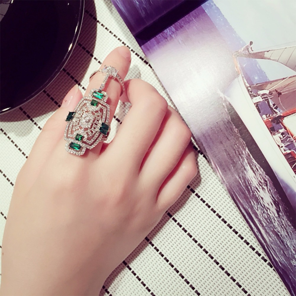High Quality Punk Western Style Rhinestone Armor Joint Finger Cross Ring For Women Men Fashion Hinged Jewelry Best Gift