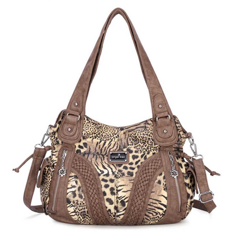 c5478b9b1f77 2019 Luxury Women AngelKiss Leopard PU Leather Hobo Satchel Design Female  Large Shoulder Bag Lady Messenger Bag Shopping Handbag