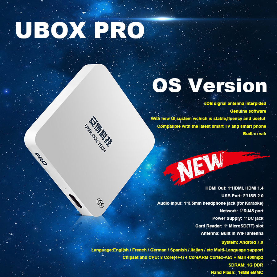 Unblock Tech UBOX PRO OS Version UBOX PRO Android IPTV Bluetooth HD 1080P 4K UBTV IPTV Smart TV