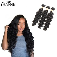HANNE 8A Loose Deep Wave Unprocessed Virgin Human Hair Extensions 3 Bundles Natural Color Remy Hair Extensions For Black Women