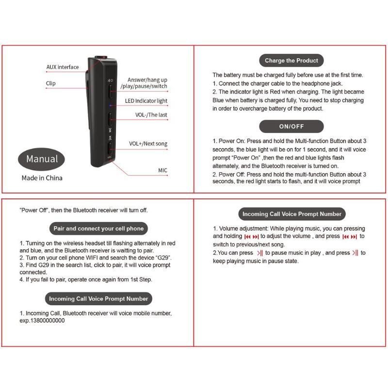 ALLOYSEED 1 шт G29 AUX Беспроводной приемник Bluetooth 3,5 мм громкой связи автомобильный аудио-адаптер Поддержка Bluetooth A2DP