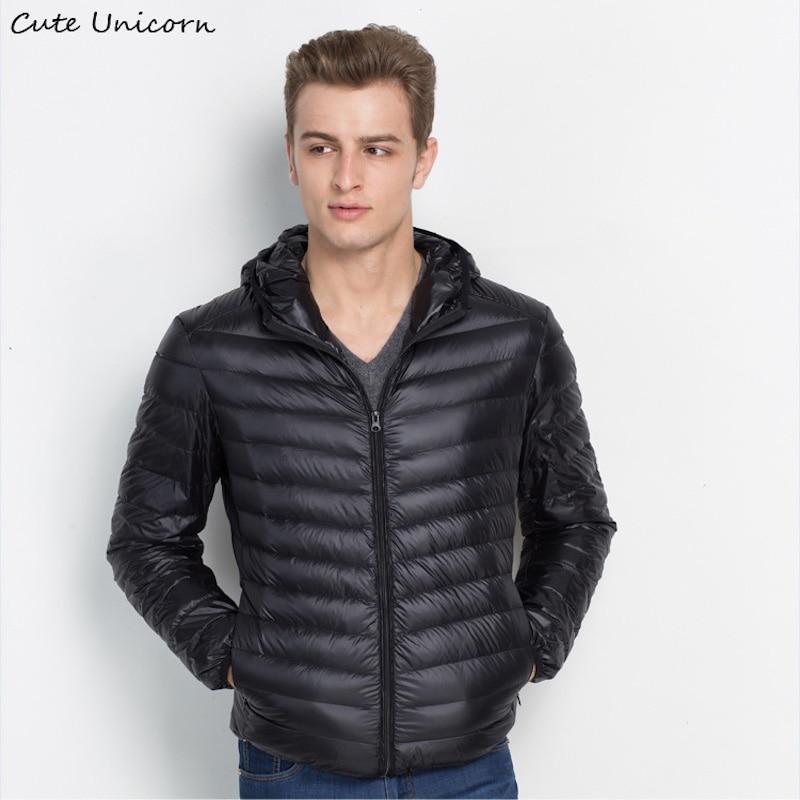 Winter Autumn Hood Down Jacket mens slim fit long sleeve coats jackets thin ultralight duck down jacket 90% Down Content