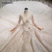 LS11294 2019 new design wedding dresses with royal long train o-neck long  sleeve luxury 1cfae19e066c
