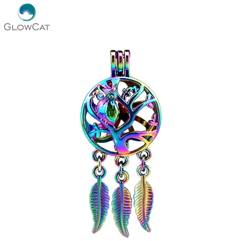 Useful C711 5pcs/lot Rainbow Color Dream Catcher Tree Owl Leaf Cage Pendant Pearl Locket Fairytale Party Crazy Price Jewelry & Accessories