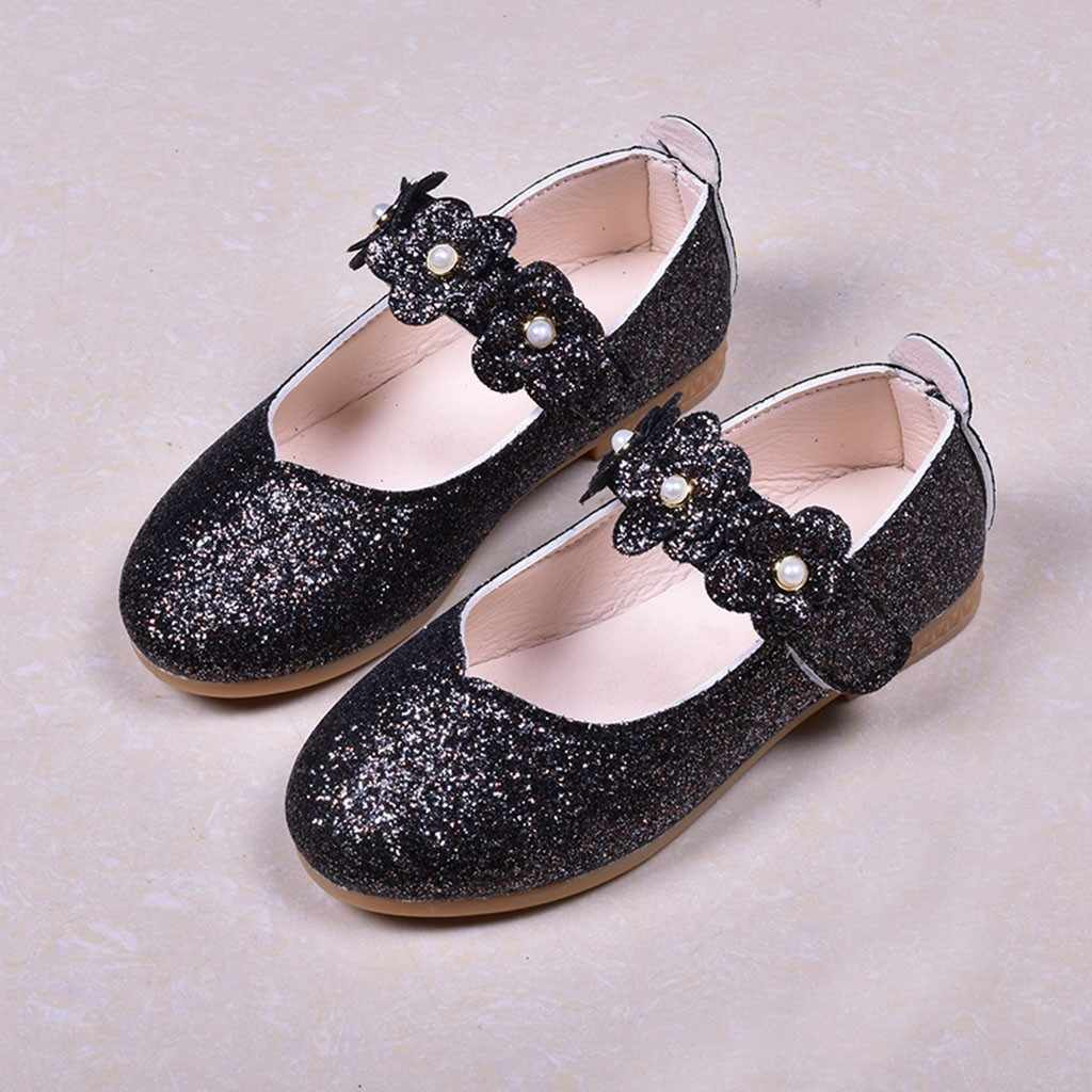 Children Kids Shoes Girls Casual Fashion Spring Breathable Shoe Solid Flower Bling Single Dance Hook&Loop Princess Shoe Sneaker