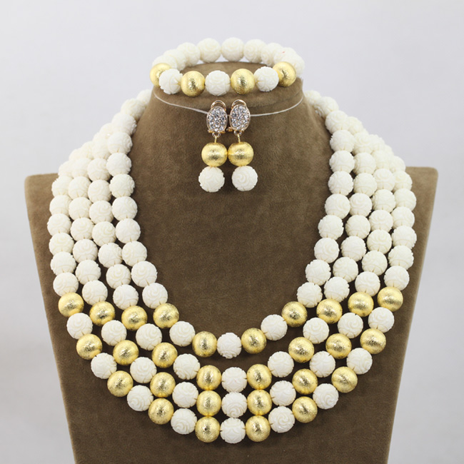 Fabulous 4 Layers White Beaded African Fashion Jewelry Sets  Gold Jewelry Accessories Coral Necklace Set Free Shipping QW982Fabulous 4 Layers White Beaded African Fashion Jewelry Sets  Gold Jewelry Accessories Coral Necklace Set Free Shipping QW982
