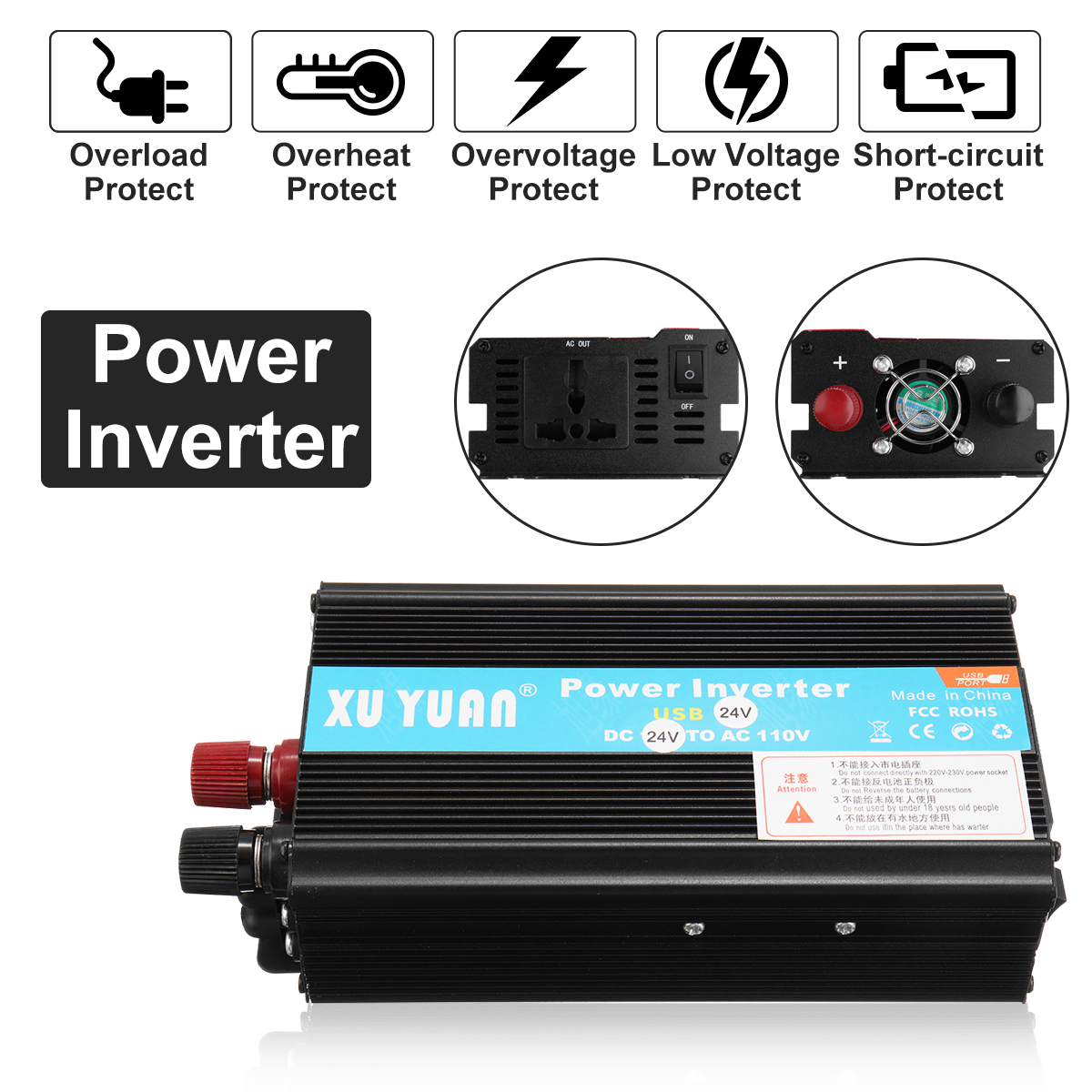 Sine Wave 2000W DC-AC Car Inverter 12V to 220V Power Inverter Volts Converter Adapter Charger Transformer Inversor 12V 220V