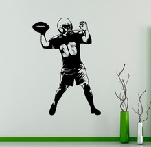 цена на Art Football Player Throw Ball Wall Decal DIY Sport Vinyl Sticker Home Wall Bedroom boys Room Decoration Mural adesivo NY-137