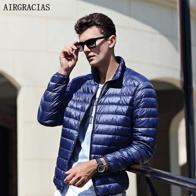 AIRGRACIAS 2018 Top Quality Men Down Jacket Light Thin 90% White Duck Down Jacket Men Parka Casual Outer coat Doudoune Homme