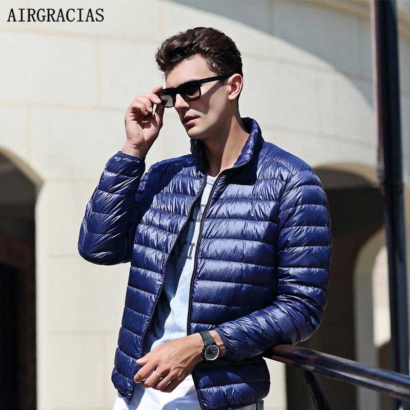 Airgracias 2017 Одежда высшего качества Для мужчин; теплая куртка легкая тонкая 90% белый парка-пуховик с утиным пухом ветрозащитный Повседневное внешний слой для Для мужчин ly008