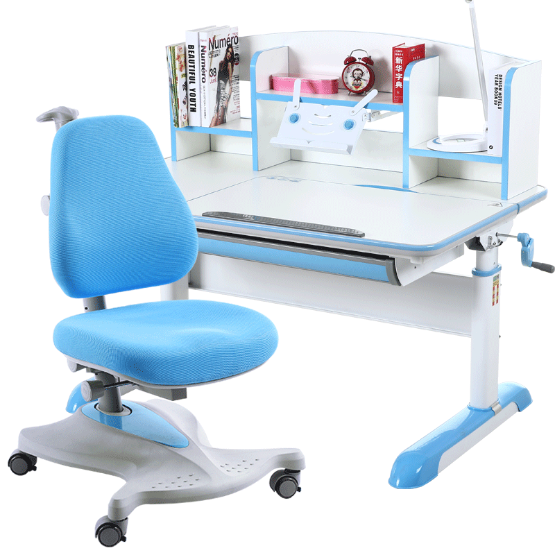 Multifunction Kids Study Table And Chair Set Lifted Storage Writing Desk Creative Double Back Chair With Wheel Adjustable Angle