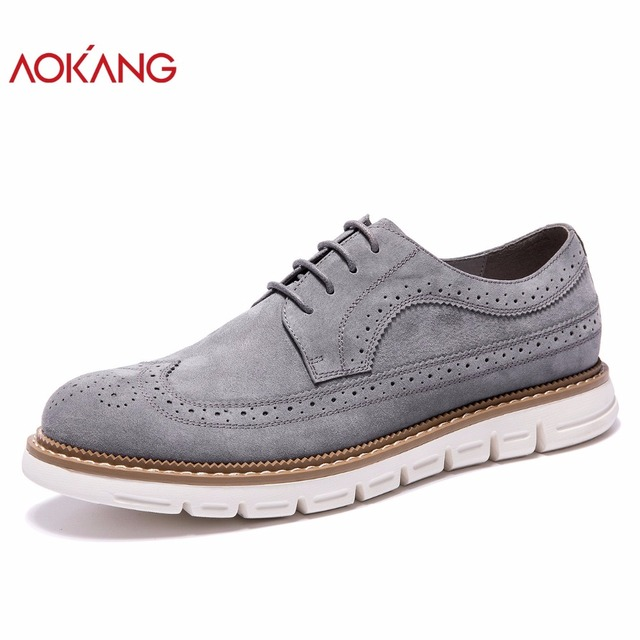 AOKANG 2018 New Arrival Men Shoes leather genuine men casual shoes comfortable flat shoes man breathable hard-wearing shoes