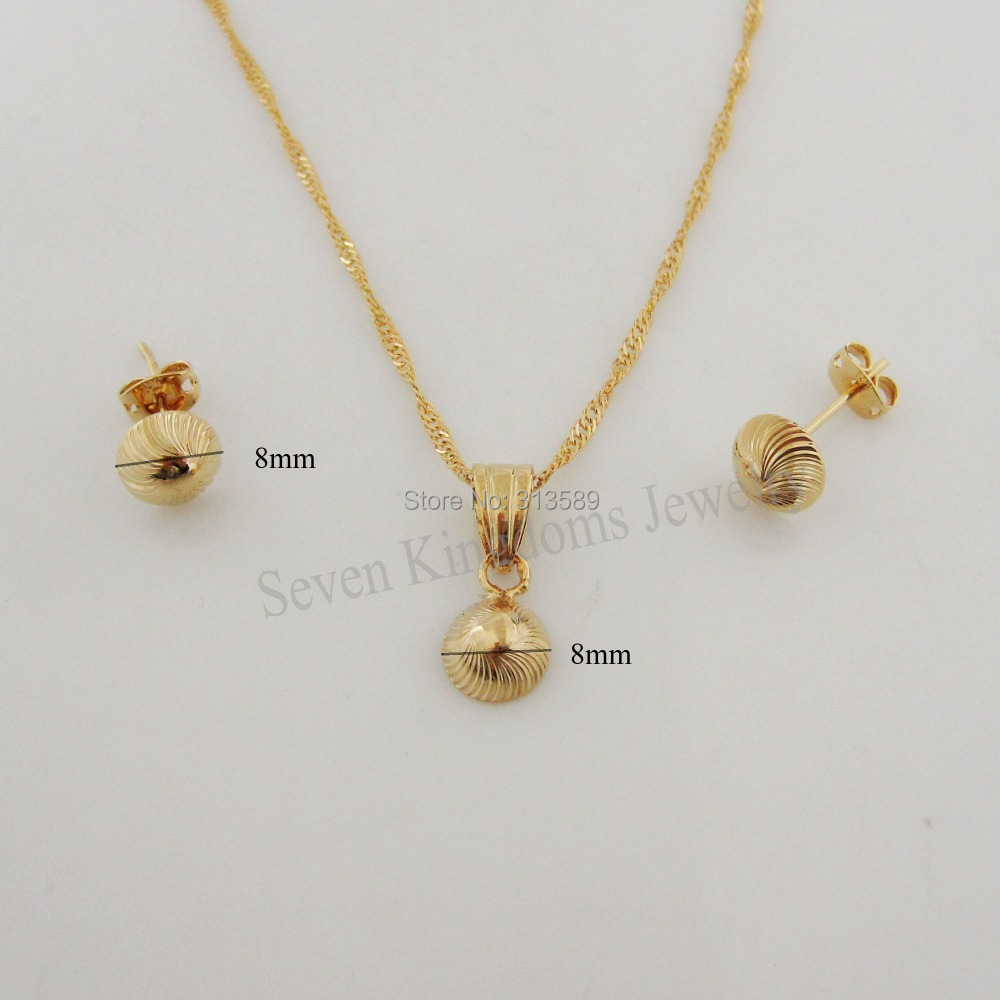 Min order is10 can mix design yellow gold gp 18 necklace cute min order is10 can mix design yellow gold gp 18 necklace cute small ball pendant stud earring setgreat giftmoney maker in jewelry sets from jewelry aloadofball
