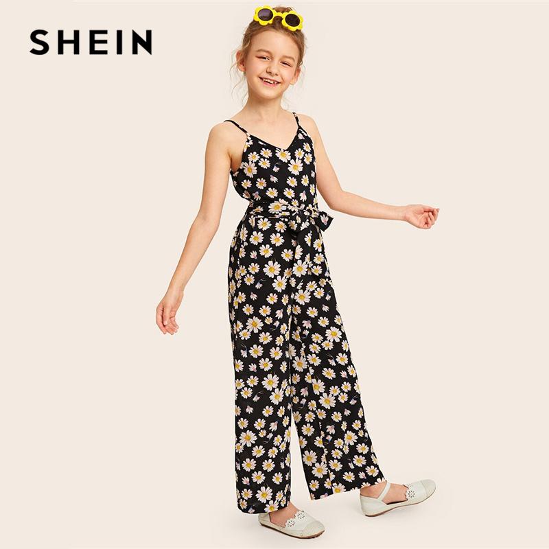 SHEIN Kiddie Black Girls Floral Print Belted Wide Leg Cami Jumpsuit 2019 Summer Holiday Boho Beach Sleeveless Jumpsuits For Kids
