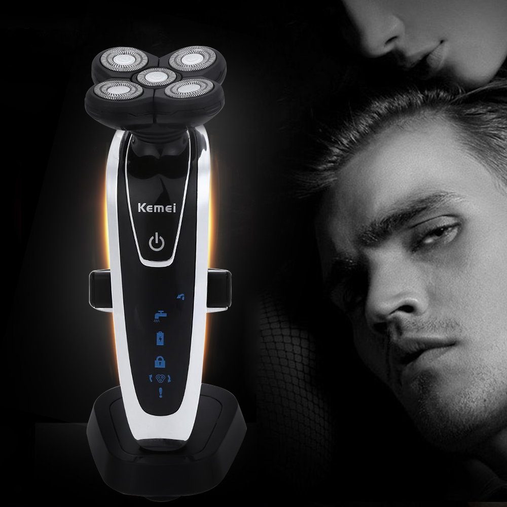 Kemei km 5884 5d floating heads washable electric shavers beard body use with nose trimmer safety