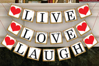 Free Shipping 1 X LIVE LOVE LAUGH Bunting Banner Wedding Photo Booth Props Wedding Party Decoration Supplies