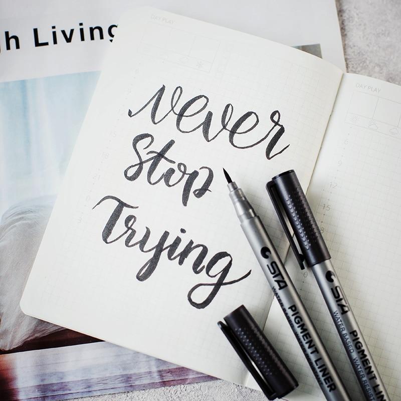 2 Pcs Brush Pens Art Markers, Fine Liner Brush Tip Black Color Pens For Adult Coloring Books Bullet Journal Note Taking Drawing