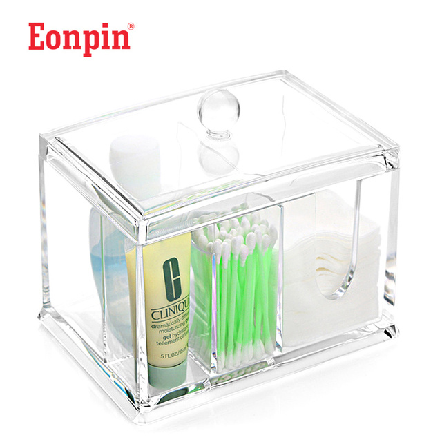 Delightful Eonpin Storage Boxes Acrylic Cotton Pad Organizer Q Tip Storage Box Makeup  Organizer Bathroom Make