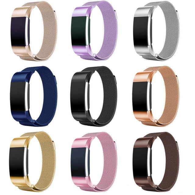 US $7 3 |10 Colors For Fitbit charge 2 Band New Magnetic Milanese stainless  steel bracelet replacement bands For Fitbit charge 2 strap-in Smart