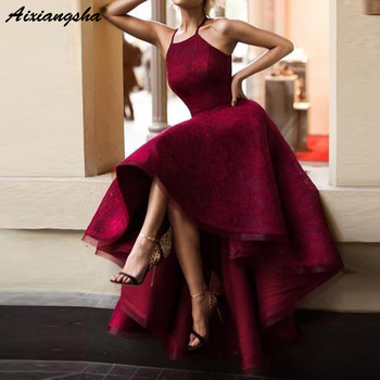 abiye gece elbisesi Burgundy High Low Prom Dresses Lace Ball Gown Vintage Maroon Evening Formal Dress