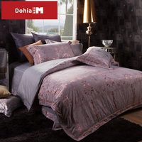 Dohiammk Sheet Set Bedding European Cotton Satin Jacquard 4 Pieces For 6 Feet Wedding Bed 1