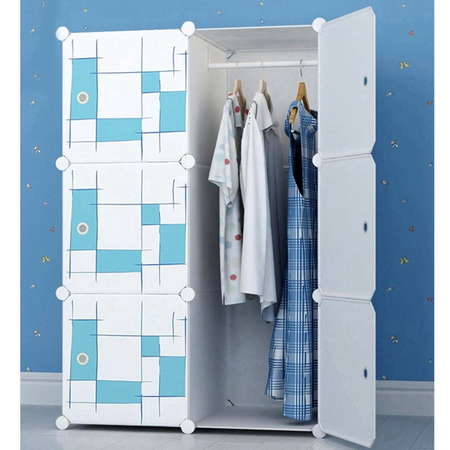 Creative Plastic DIY Wardrobe Bedroom Furniture Waterproof Wardrobe Clothes  Organizer Hanger Rack With Storage Shelves Closet