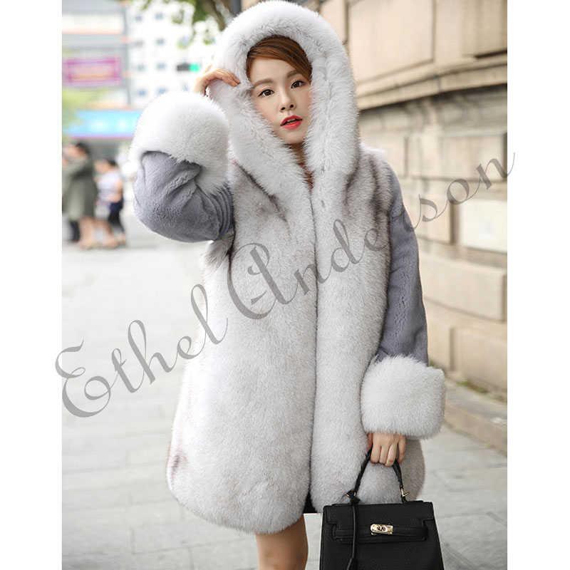 ETHEL ANDERSON 100% Chất Lượng Cao Thực Fox Fur Coat Chính Hãng Mink Fur Jacket với Đội Mũ Trùm Đầu 2018 Thực Sự Phong Cách Mới cho phụ nữ Outwear