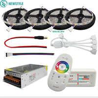 DC12V 5050 tira de LED impermeable RGB RGBW cinta Flexible de luz Led + control remoto táctil + Kit de adaptador de corriente 12V 30M 20M 10M 5M