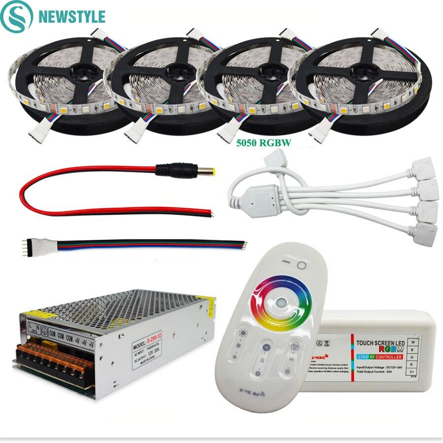 Dc12v 5050 led tira impermeável rgb rgbw led luz fita flexível + toque controle remoto 12 v adaptador de energia kit 30 m 20 m 10 m 5 m