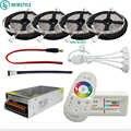 Tira de LED DC12V 5050 RGB RGBW impermeable cinta Flexible de luz Led + control remoto táctil + Kit adaptador de corriente de 12V 30M 20M 10M 5M