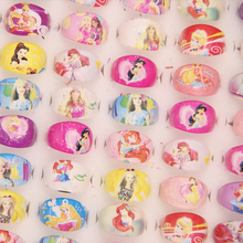 100Pcs Wholesale Mixed Lots Anime Little Mermaid Rapunzel Cute Cartoon Girl Kids Baby Rings Party Supplies Gift