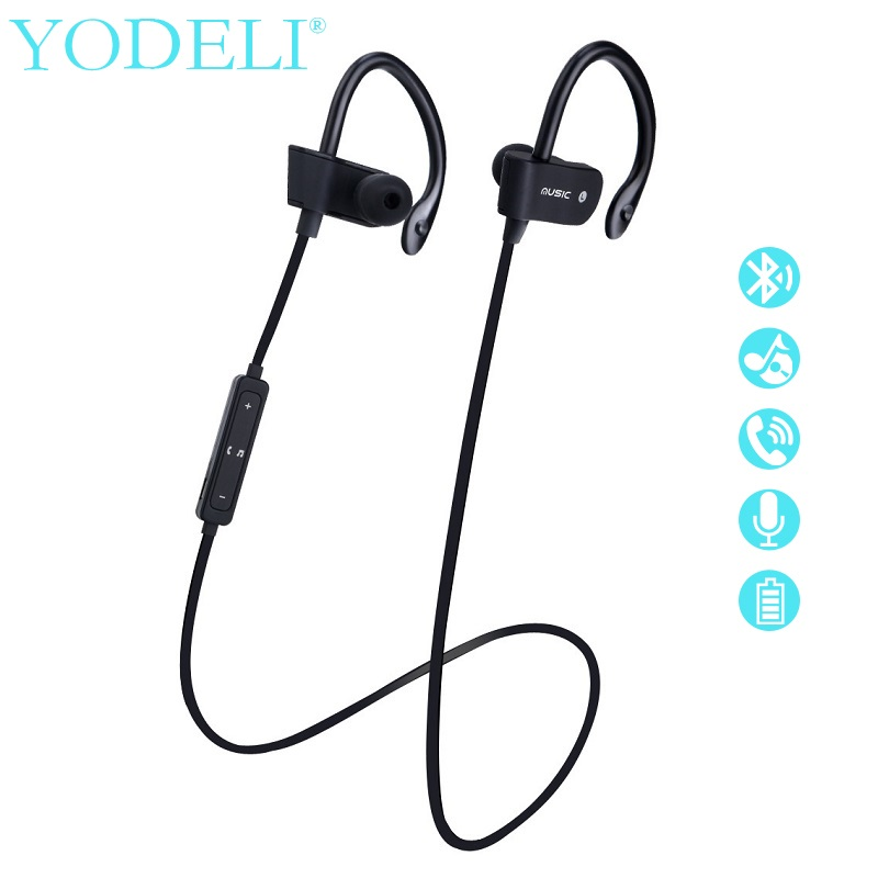 YODELI Original S4 Sports Running Bluetooth Headphones with Mic Wireless Sweatproof Earphones Bass Headsets for iPhone 7 xiaomi mpow bluetooth 4 1 headphones sweatproof sport earphones for running gym exercise with hands free calling for iphone samsung