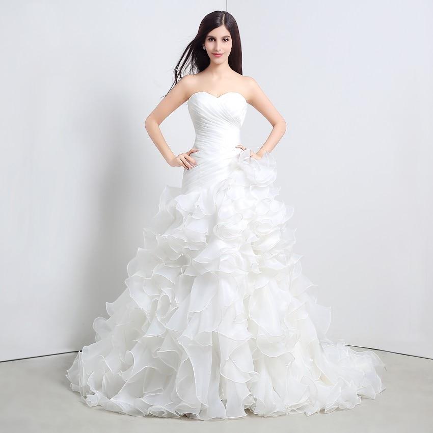 Moda Sirena Vjenčanice 2017 Slatka dekoltea zgužva Organza kaskadno čipke do sud Vlak svadbene haljine Real uzorak  t