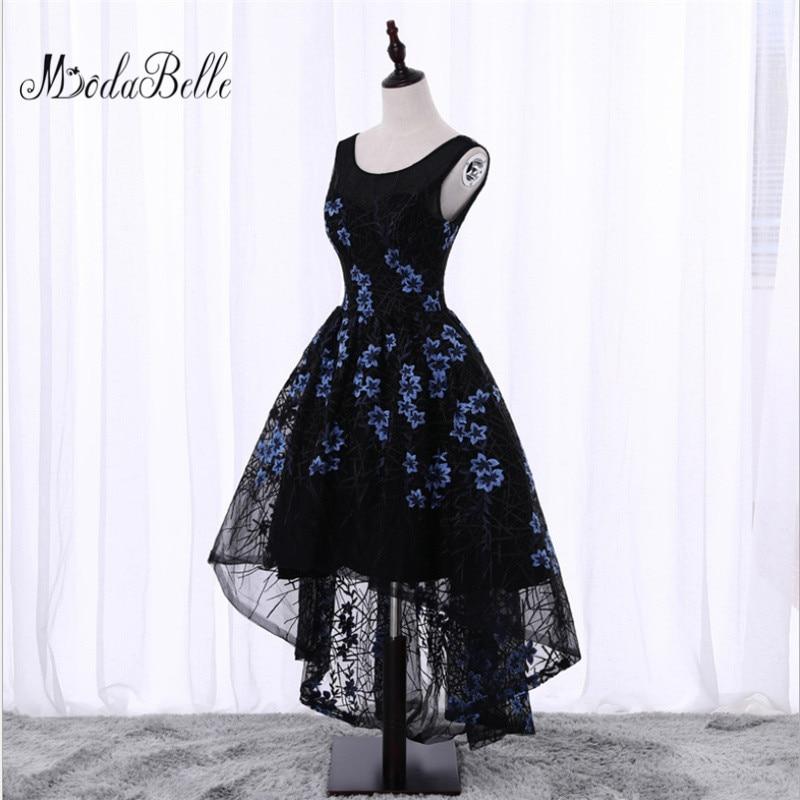 Black Short Front Long Back Flowers Floral Prom Dress Evening dress Cheap Junior Girls Scoop Neck Lace Formal Homecoming Dresses