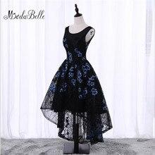 1500157c1 Negro trasero largo delantero corto flores Floral fiesta vestido de noche  barato Junior Girls Scoop cuello
